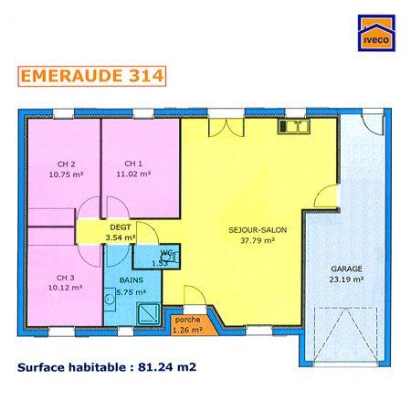Plan maison plein pied 2 chambres m projets house plans house et how to plan - Plan de maison 100m2 plein pied ...