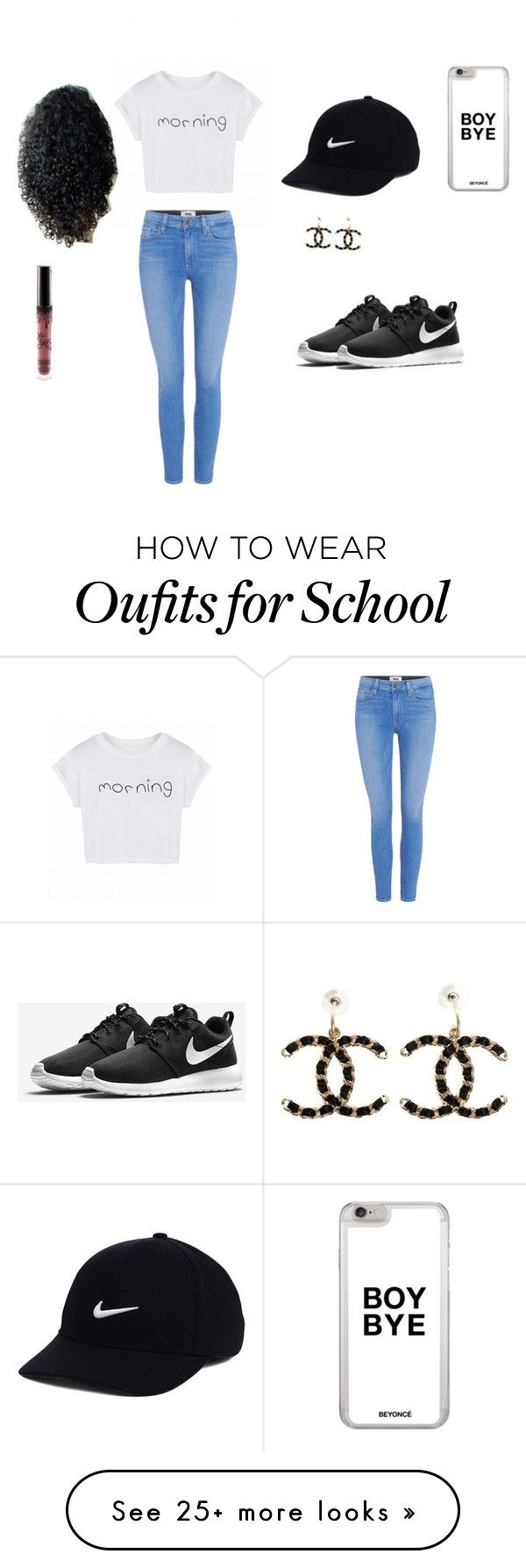 """""""Back to school out fit"""" by goldyanna05 on Polyvore featuring Paige Denim, NIKE and Chanel"""