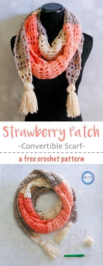 This modern andstylish scarf will take you from winter to spring! Wear it as a warm scarf or a light shoulder wrap. Made with one skein of Caron Cakes or your favorite worsted weight yarn. I hope you enjoy my newest free crochet pattern: the Strawberr
