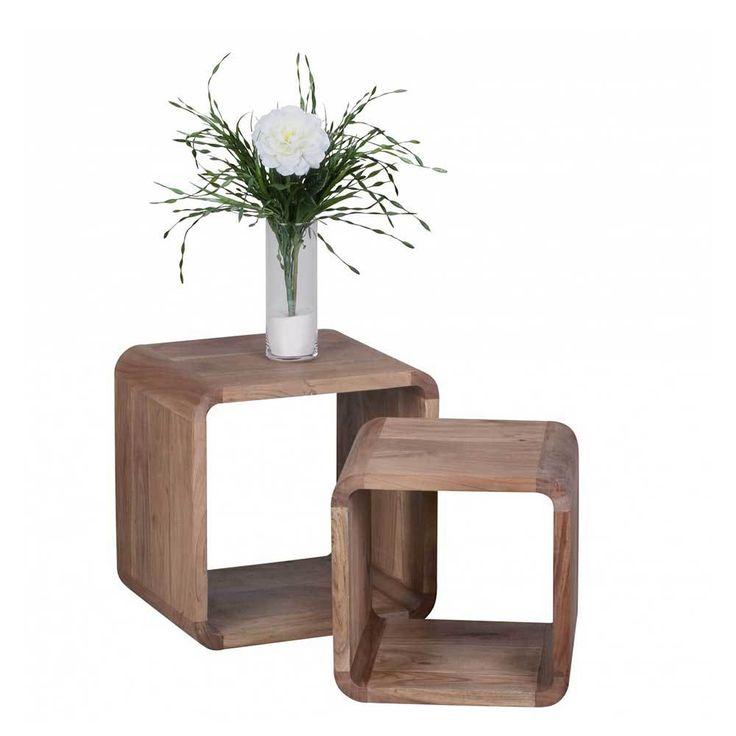 Unique Zweisatztisch aus Akazie Massivholz abgerundet teilig Jetzt bestellen unter