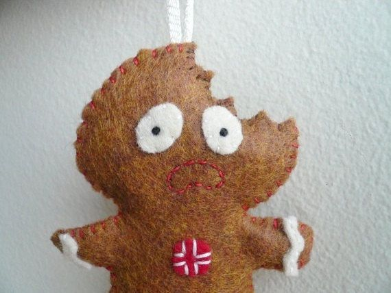 Scared Gingerbread Man  Funny Christmas by TheOffbeatBear on Etsy, $20.00