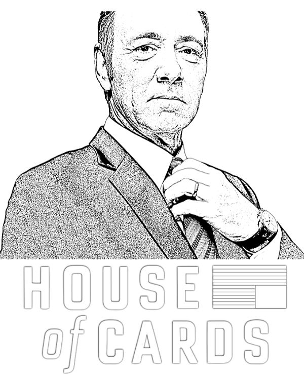 """""""If you don't like how the table is set, turn over the table"""" Coloring page with Frank Underwood exclusively on: https://topcoloringpages.net/famous/"""