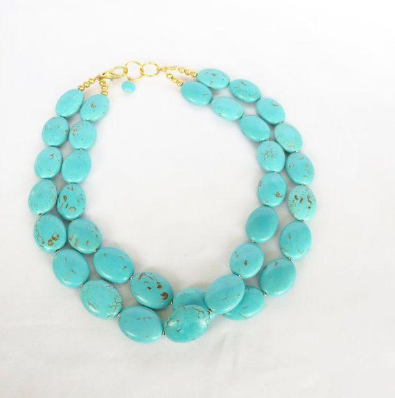 Turquoise Oval Necklace  2 Strand Turquoise by WildflowersAndGrace, $34.00