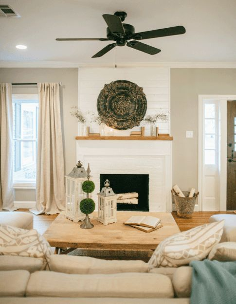 Joanna Gainesu0027 Farmhouse Style, Shiplap Fireplace, Neutral Sectional Sofa,  Decorative Lanterns, Neutral Drapes | Living Room | Pinterest | Joanna  Gaines ...
