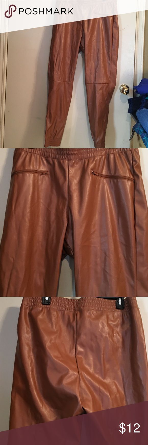 Joggers Size 1X faux leather brown jogger pants has faux zipper pockets in front made by Like an Angel Pants Trousers