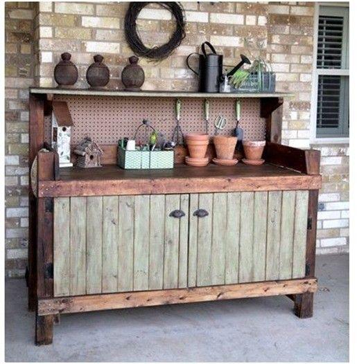 Backyard inspiration post... I kinda want to make that potting bench/garden shelf!