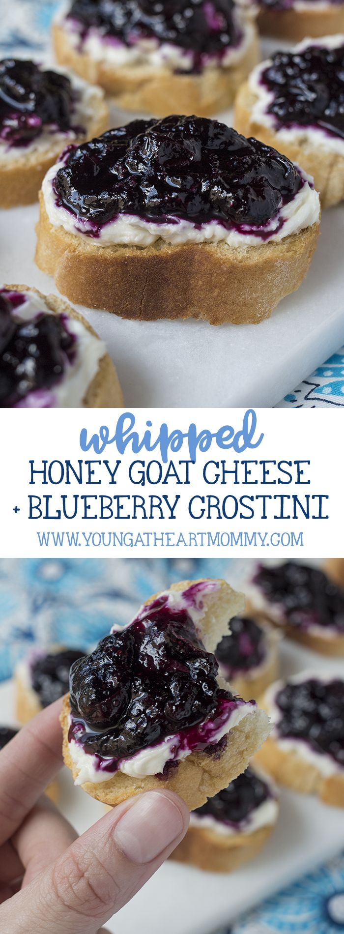 These crispy crostini topped with whipped honey goat cheese and a blueberry compote are pure perfection!