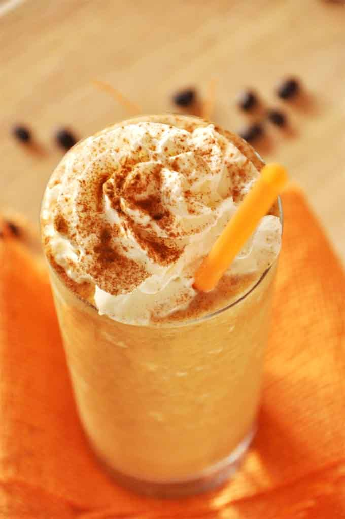 """A simplified and healthified pumpkin frappuccino using pumpkin-infused milk """"ice cubes"""" and cold brew coffee. Even the novice barista can master this fall-friendly beverage."""
