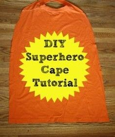 Lay out one ginormous t-shirt.Cut off the sleeves.Cut up the sides and lay the shirt open.Cut out the shape of a cape, being careful to keep the neck hole in tact. The neck hole will be too big for your little guy…cut out a section. for safety's sake, make sure you make this cape detachable by adding the velcro closure.