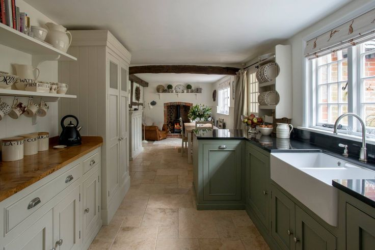Gorgeous Kitchen pinned from https://www.facebook.com/pages/Pepperbox-Trading/320654885426 Kitchen by Middleton Bespoke F&B Paints used Ceiling Pointing, Walls and Panelling WImborne White, Woodwork All White, cabinets under granite Pigeon and under Oak worktop Shaded White. Information supplied by Sarah who owns the kitchen of Pepperbox Trading.