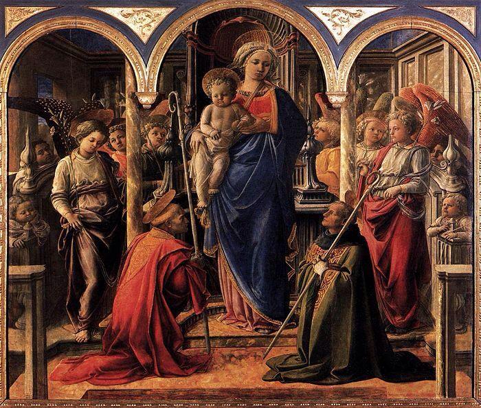 """LIPPI. """"La Pala Barbadori (Madonna col Bambino, angeli, san Frediano e sant'Agostino)"""".  tempera su tavola. 208x244 cm. 1438. Museo del Louvre di Parigi."""