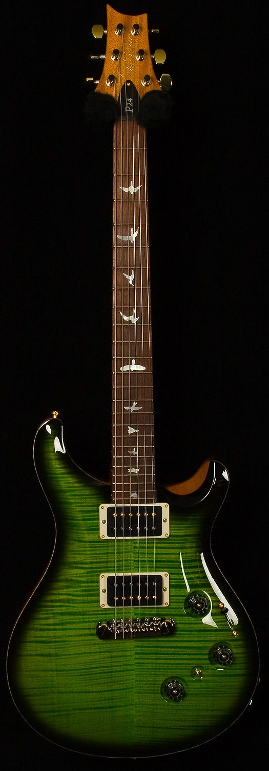 Paul Reed Smith P24. The fretboard birds on PRS guitars are: 1. Peregrine falcon, 2. Marsh hawk, 3. Ruby throated hummingbird, 4. Common tern, 5. Coopers hawk, 6. Kite, 7. Sparrow landing, 8. Storm petrel, 9. Hawk landing, 10. Screech owl on a branch (24-fret models only).