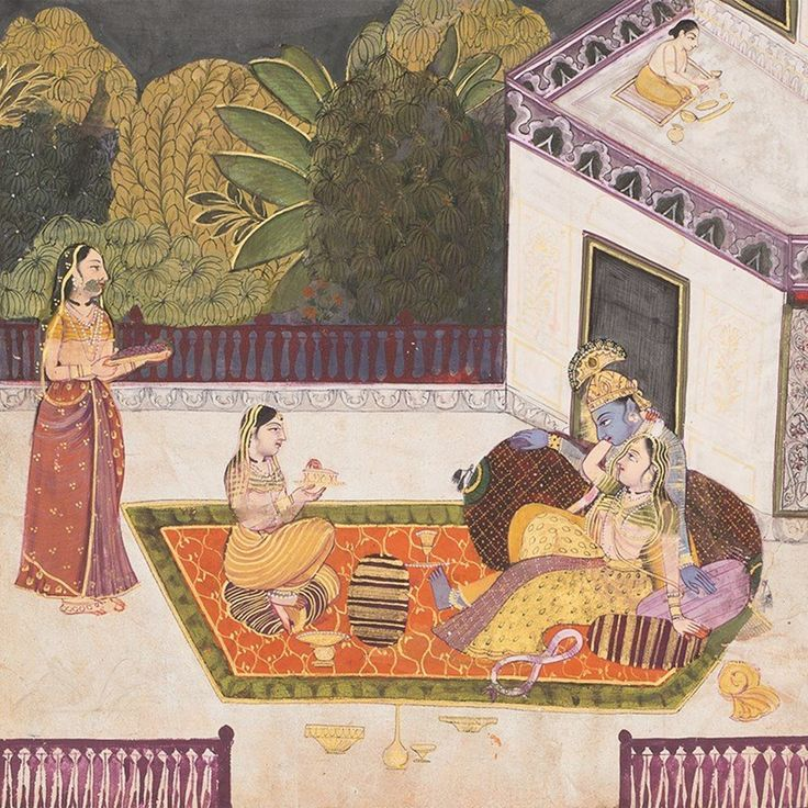 Radha Clasps the Neck of Krishna (detail). Opaque watercolors with gold on paper, Rajasthan, Bundi, late 18th century