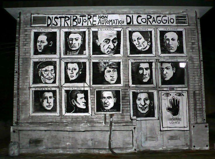 Distributore non automatico di coraggio. Indirizzo: via Matteotti nel parcheggio del museo civico Luigi Varoli. Scopri qui tutte le info: http://www.romagnadeste.it/it/7-cotignola/i5011698-un-murale-per-ricordare-la-liberazi.htm