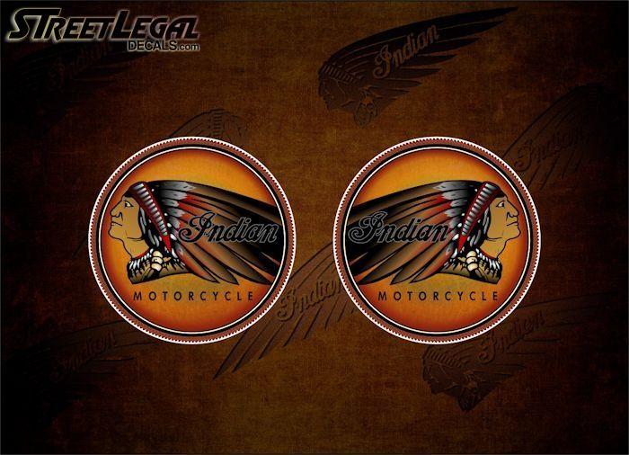2 Lost Warrior Vintage Indian Motorcycle Vinyl Decals