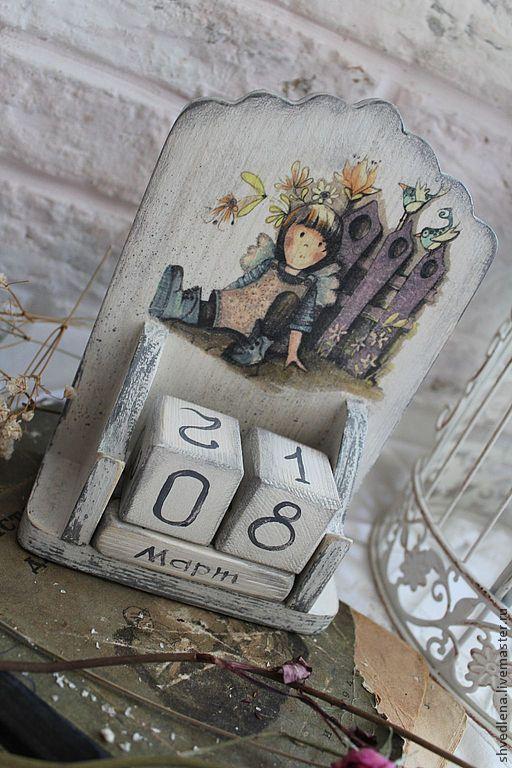 """Купить Вечный календарь """"Родом из детства"""" - бледно-сиреневый, сливочный, белый, девочка, детство:"""