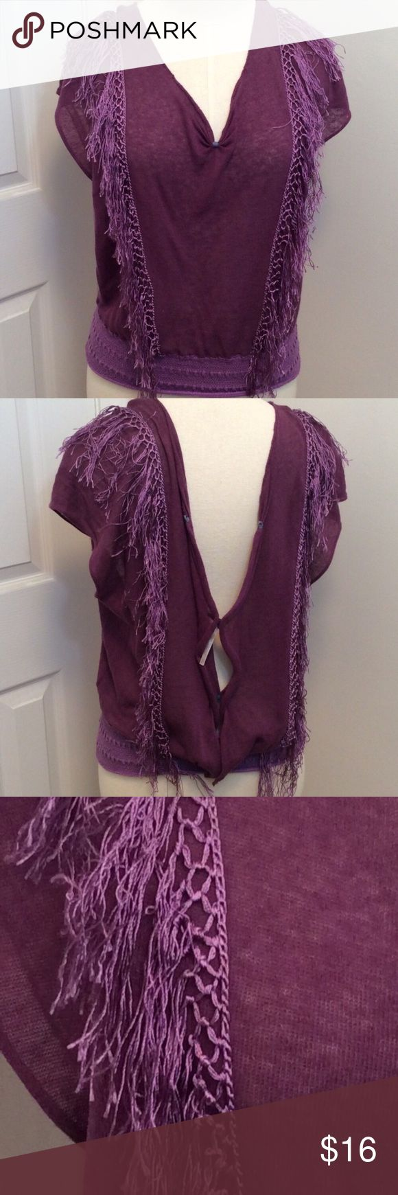 Free People  purple crochet V neck fringe tank top Free People  purple crochet V neck fringe tank top. Elastic waist pincher, size S/P GUC questions??? Please ask Free People Tops Blouses