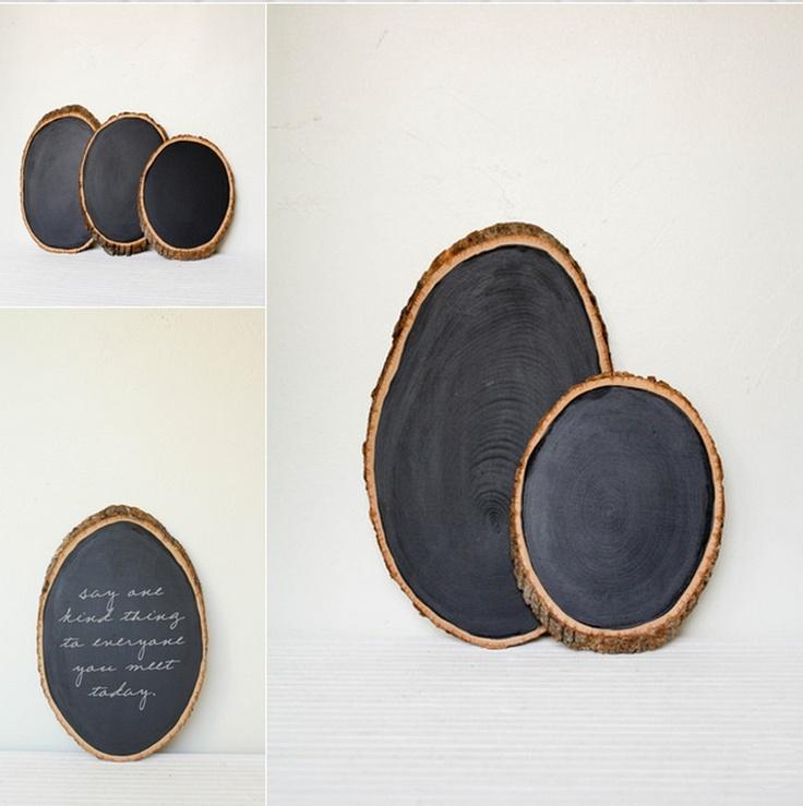 lonchas tronco arbol pintar en pizarra, una idea vista en Olive Manna