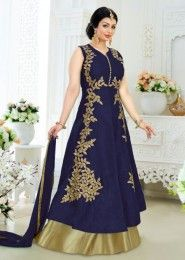 Party Wear Neavy Blue Banglori Silk Embroidered Work Anarkali Suit