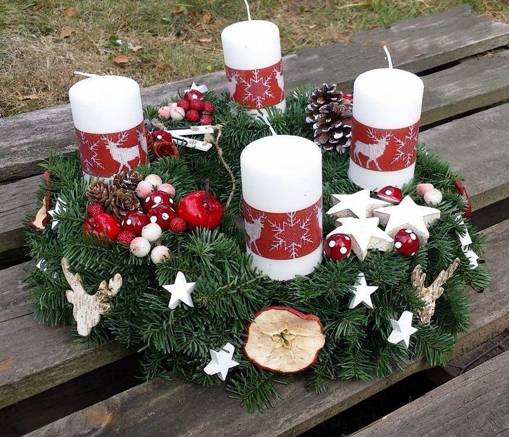 Adventskranz rot weiß Ø 35cm Hirsch Elche Adventsgesteck Landhaus natur