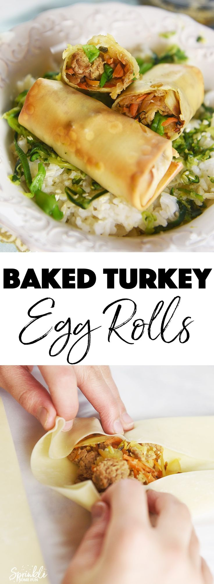 These Baked Turkey Egg Rolls are so yummy that we never miss the take out version!  My kids even say they prefer the baked version.  These are made with antibiotic and hormone free ground turkey from Honest Turkey by Honeysuckle White. (ad)