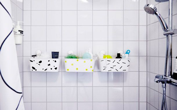 Extend the colour code all the way to the shower by decorating your baskets. Which means no pile of half-empty shampoo bottles. And when the shampoo does run out, a shared back-up stash saves the day (so you don't have to borrow from your roomies)
