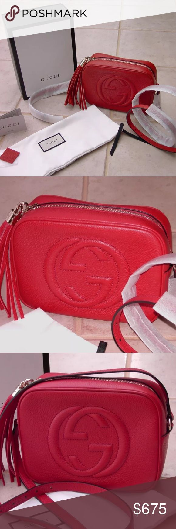 Gucci Soho Disco Red Crossbody Bag 100% Authentic 🔺 We are a very negotiable service 🔺 We provide overnight shipping and express shipping 🔺 Our transactions are made through third party applications 🔺 If you are interested in buying this product please contact us via 646-431-6521 🔺 Gucci Bags Crossbody Bags