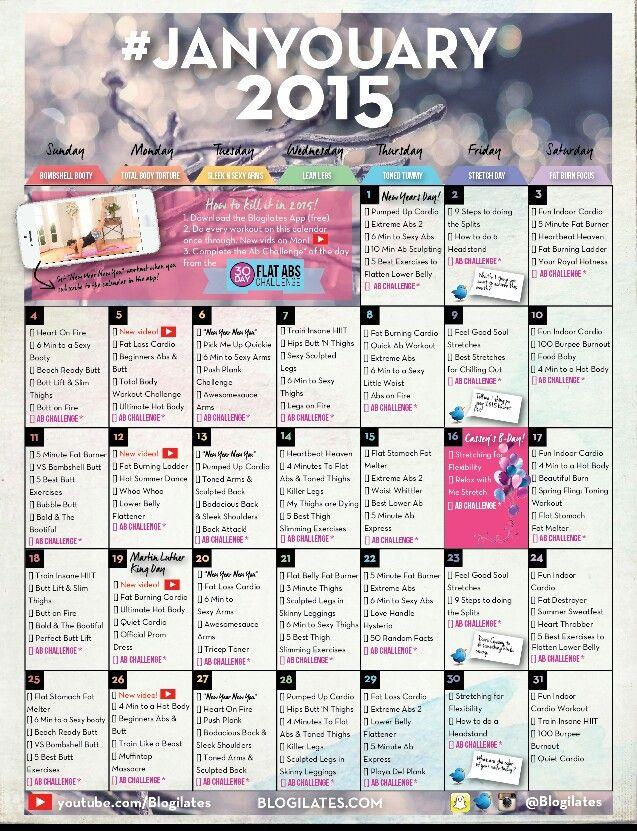 January blogilates calendar