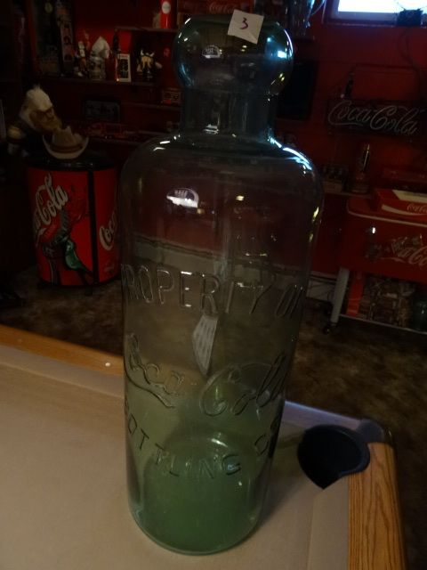Vintage Coca Cola Factory Bottle. Used to store large Quantity of Pop. Cork Stopper. 29 x 9. Very Rare piece.