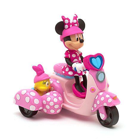 """Mimmi Pigg uppvridbar leksak. """"Mimmi Pigg på en rosa scooter med Cuckoo Loca i sidovagnen. 85kr"""