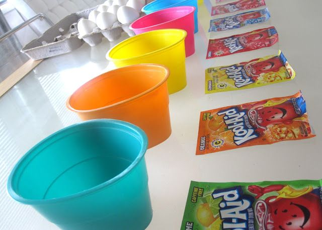 kool-eggs~ use Kool-Aid to dye Easter eggs - smells way better! :)