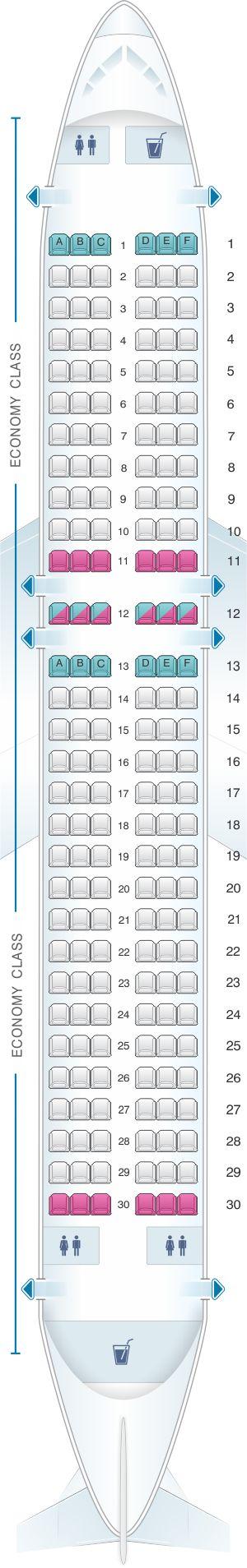 Seat Map Wizz Air Airbus A320   Air transat