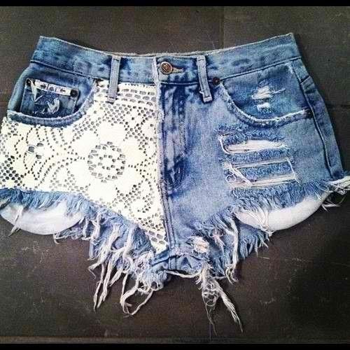 Lace and rips: Shorts Shorts, Cute Shorts, Lace Jeans, Denim Shorts, Jeans Shorts, Lace Shorts, Summer Shorts, Cut Off, Summer Clothing
