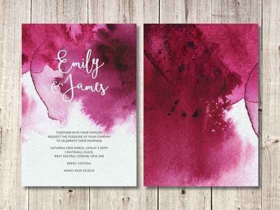 Vintage Burgundy Watercolor Invitation Spring Or Fall Wedding