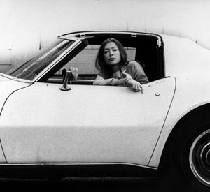 Author Joan Didion sitting inside a white Stingray car in Hollywood, November 1970. Julian Wasser/Time Life Pictures/Getty Images