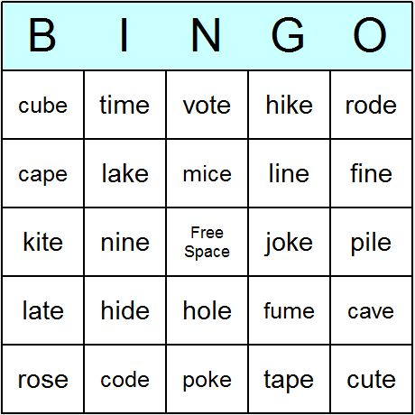 silent e word list | Phonics Bossy E Words Bingo Cards - Printable bingo activity, game ...