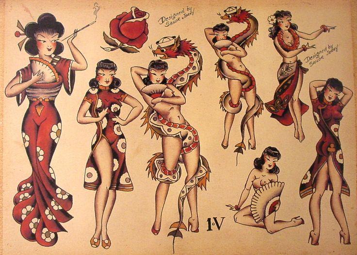 Sailor Jerry Tattoo Flash (10 Sheets): Snakes, Panthers, Geisha Girls: Sailor Jerry: Amazon.com: Books