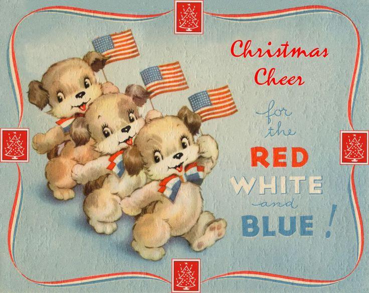 Vintage patriotic Christmas card: Christmas Patriots, Christmas Cards, Vintage Christmas, Patriots Cards, Christmas Dog, Christmas Vintage, Vintage Patriots, Patriots Christmas, Vintage Cards