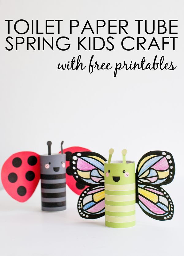 DIY Butterfly and Ladybug Kids Craft - get the free printable + use art supplies you already have laying around!