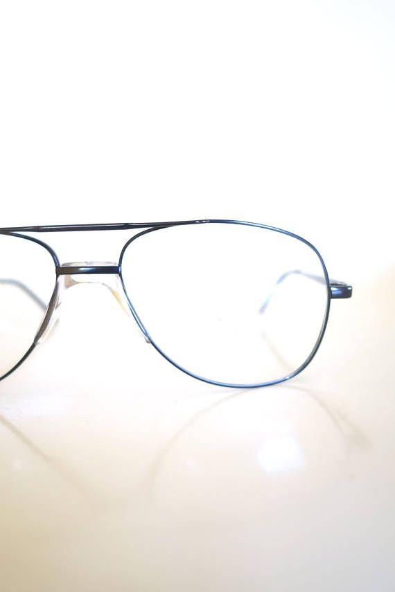 1980s Metallic Black Oversized Aviator Glasses Mens Optical