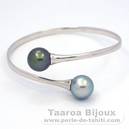 Bracelet en Argent .925 et 2 Perles de Tahiti Rondes C  11.8 mm