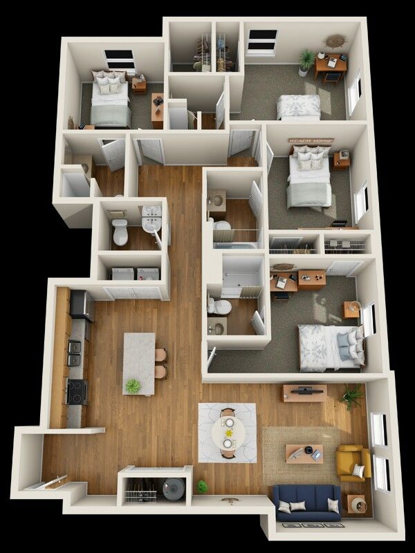 Pin By Djoa Dowski On Top View Inside House House Floor Design House Layout Plans Small House Design Plans