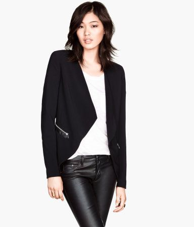 Product Detail | H&M US Draped Jacket DESCRIPTION Fitted jacket in woven fabric with imitation leather details. Draped lapels, pockets with zip, and no buttons. Lined. DETAILS 93% polyester, 7% spandex. Machine wash cold Imported Art.No. 60-6437