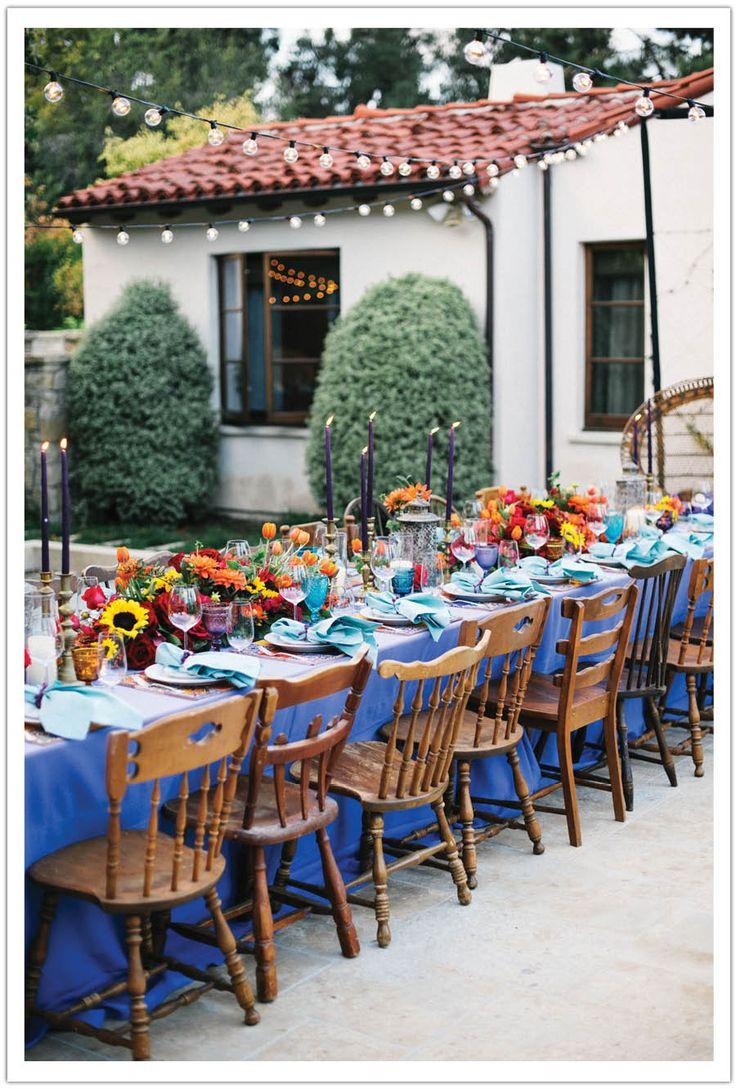 spanish fiesta dinner party  I've always felt that white oak hall looked like a spanish villa ;)