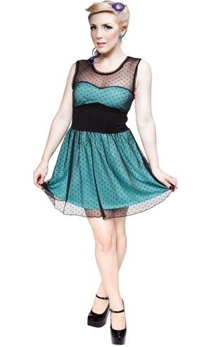Mary Lu Dress Blue by Sourpuss Clothing