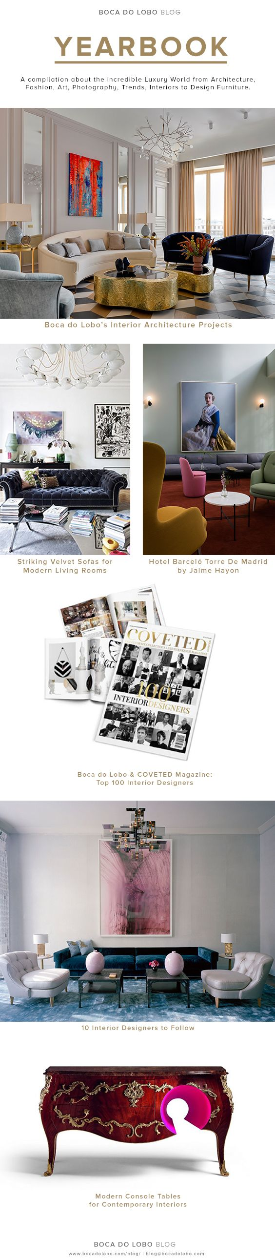 Boca do Lobo Blog's Design Yearbook is the ultimate platform that offers you the latest tendencies in the luxury world, from architecture, fashion, art, photography, trends, interiors to design furniture  | www.bocadolobo.com #bocadolobo #luxuryfurniture #exclusivedesign #interiodesign #designideas #interiodesign #decor #luxury ARCHITECTURE, ART, DESIGN FURNITURE, DESIGN YEARBOOK, EBOOK, FASHION, FREE EBOOK, INTERIORS, PHOTOGRAPHY, TOP INTERIOR DESIGNERS, TRENDS, YEARBOOK