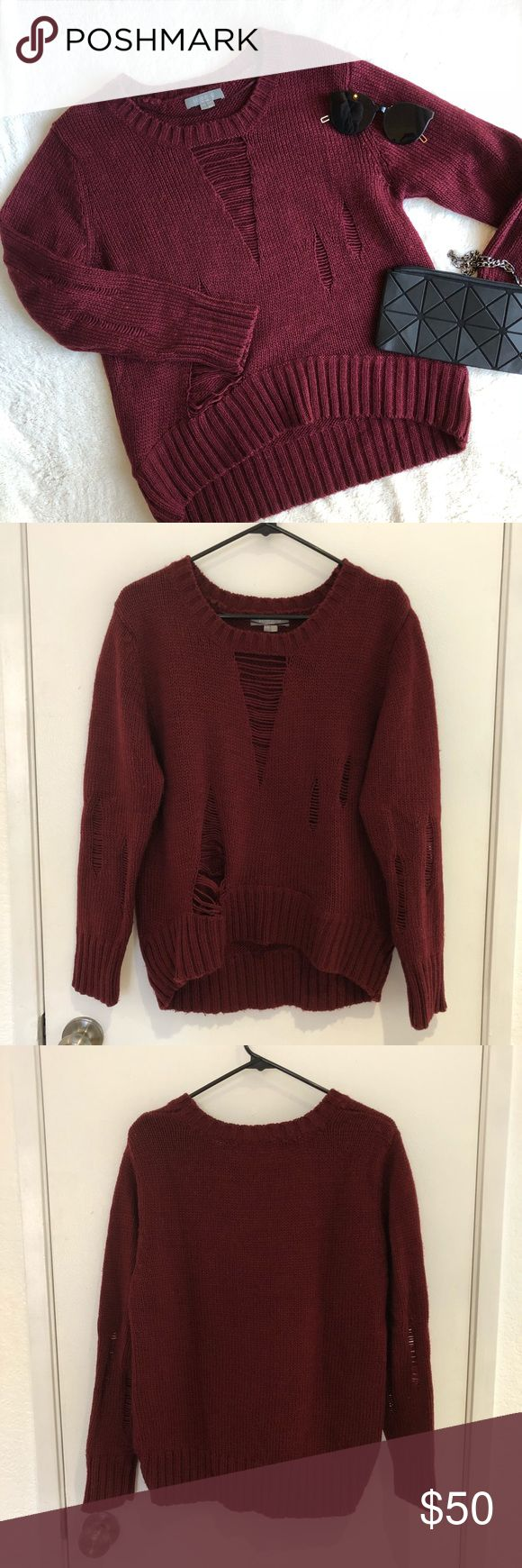 """Burgundy Sweater Knot burgundy sweater in good condition. Bought from Nast Gal. Brand is Solemio. Slightly oversized fit. Length is 22"""" in the front and 25"""" in the back. Sleeve is 23"""" from shoulder seam. Chest is 19"""" across. Distressed details on front. Nasty Gal Sweaters Crew & Scoop Necks"""