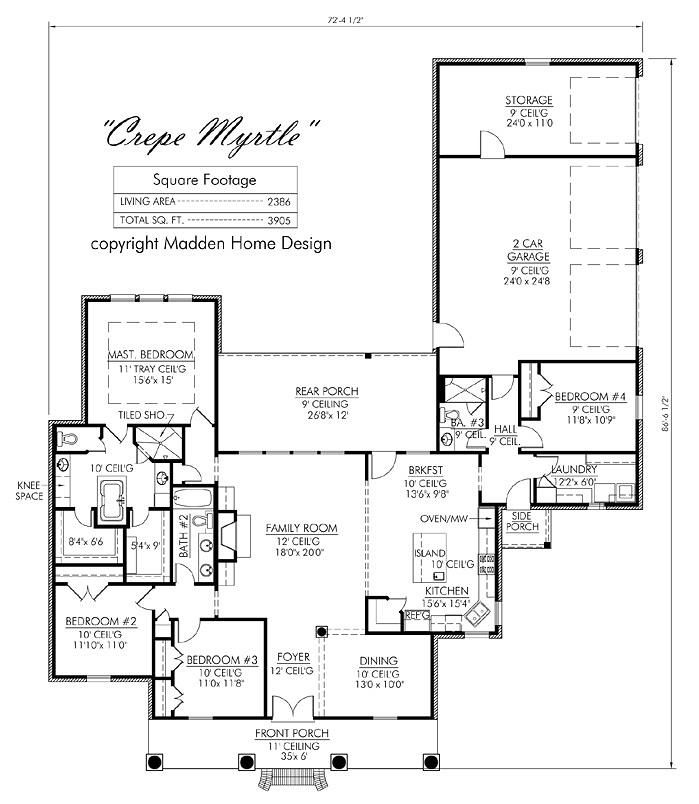 Madden Home Design The Crepe Myrtle Home Pinterest: 2 story acadian house plans