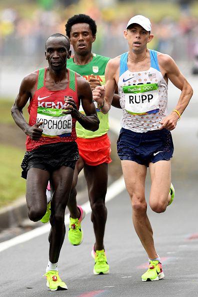 Eliud Kipchoge of Kenya Galen Rupp of the United States and Feyisa Lilesa of…