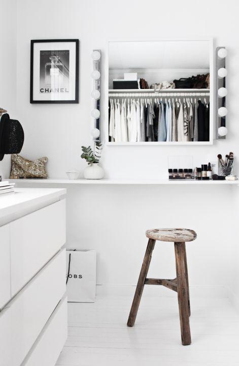 Makeup Station inside walk in closet